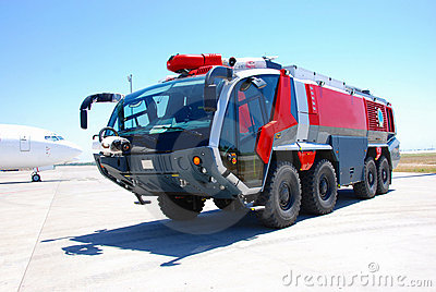 Red fire engine at airport