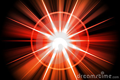 Red Fire Star Sunburst Abstract