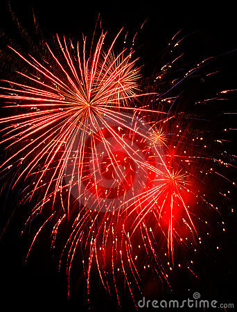 Free Red Fireworks Stock Photography - 6063142