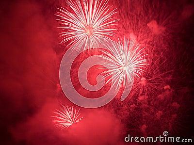 Red fireworks exploding