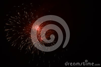 Red fireworks for the new year`s eve Stock Photo