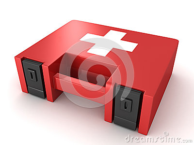 Red first aid kit box on white background