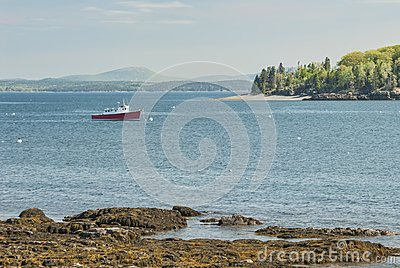 Red Fishing Boat at Bar Harbor Maine