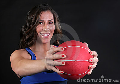 Red Fitness Ball Girl