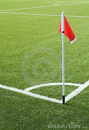 Red flag on the soccer field