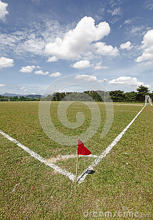 Red flag on a Soccer field