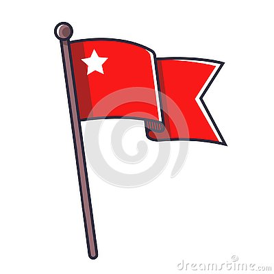 Red flag with a star Vector Illustration