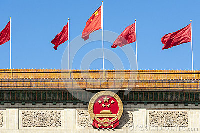 Red flags in Beijing, China
