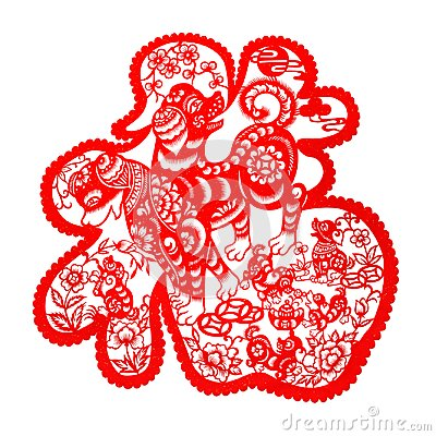 Free Red Flat Paper-cut On White As A Symbol Of Chinese New Year Of The Dog 2018 Stock Photo - 106683750