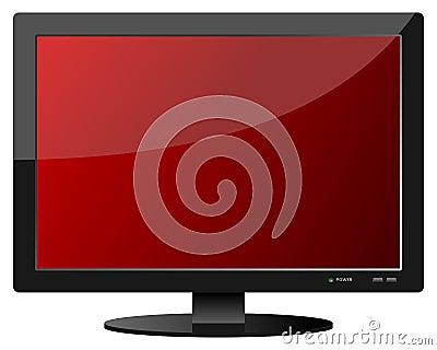 Red Flat Screen TV Set