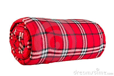 Red fleece blanket in  cage