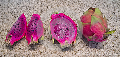 Red-Fleshed Dragon Fruit on Granite