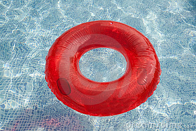 Red float floating in the pool