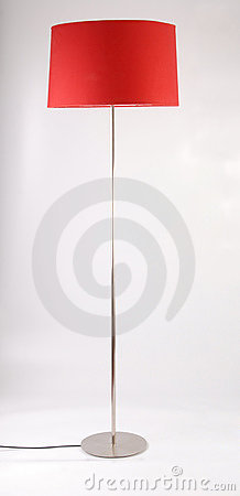 Red floor lamp on white background