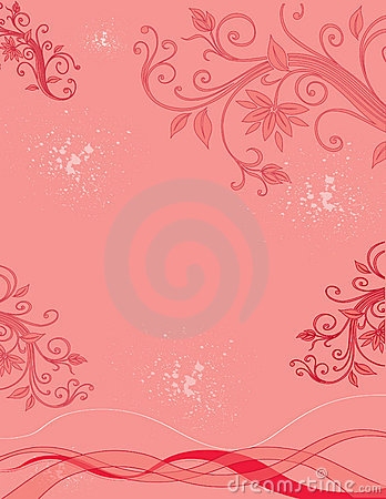 Scroll, Floral and Splatter Background