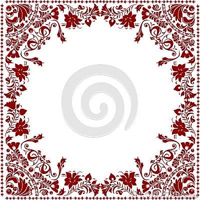Red floral frame decoration