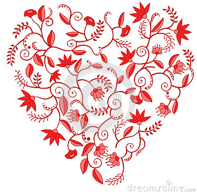 Red floral heart shaped pattern