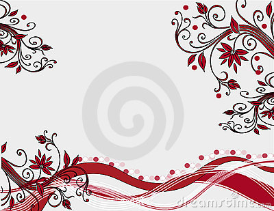 Red floral decoration on white background