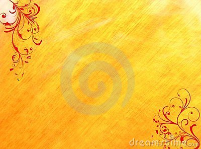 Red floral swirls yellow background