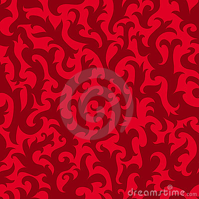 Red floral wallpaper (seamless vector)