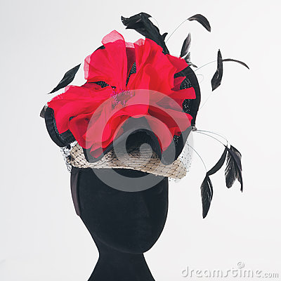 Free Red Flower And Black Feathers Races Hat Stock Image - 60189261