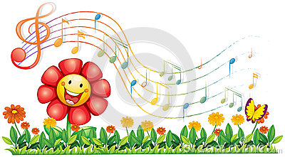 A red flower in the garden with musical notes Vector Illustration