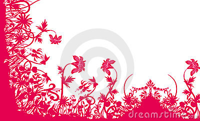 Red flower and grass pattern