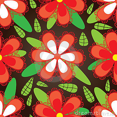 Red Flower Green Leaf Seamless Pattern_eps
