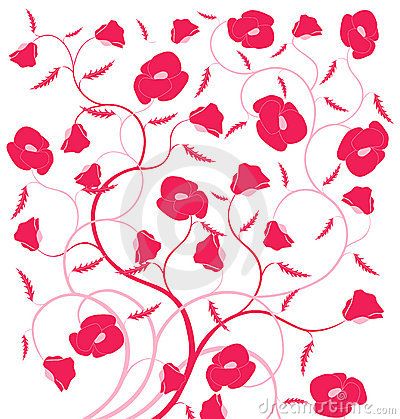 Red flower seamless pattern