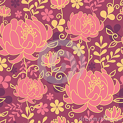 Red flowers and leaves seamless pattern background