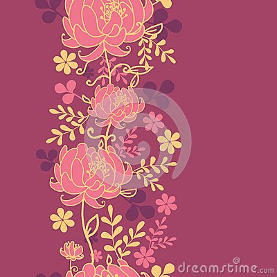 Red flowers and leaves vertical seamless pattern
