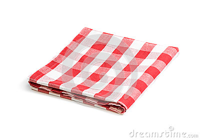 Red folded linen tablecloth isolated