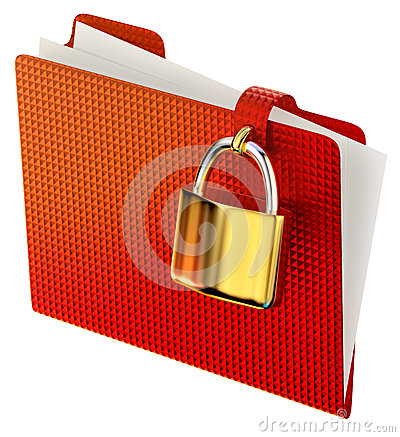 Red folder with golden hinged lock