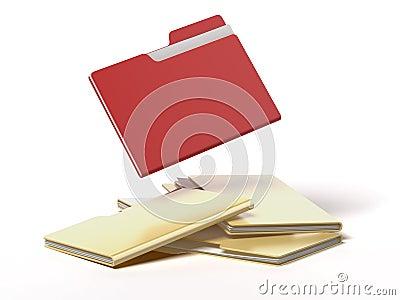 Red folder among yellow