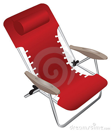 Red folding aluminium armchair with a pillow