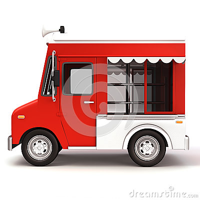 Red Food Truck Side Stock Illustration - Image: 40635482
