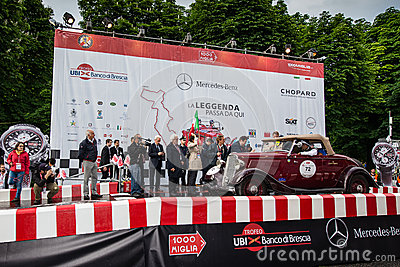 Red Ford Model B, 1933, starts the 1000 Miglia Editorial Stock Image