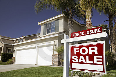 Red Foreclosure For Sale Real Estate Sign and Hous