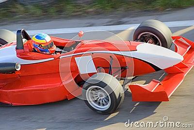 Red formula racing car