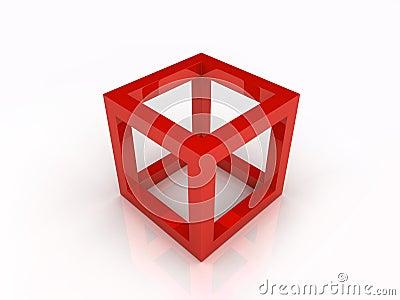 Red frame cube