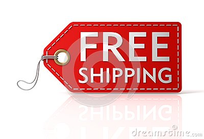 Red free shipping tag