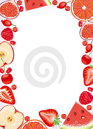 Red fruits and  berries frame