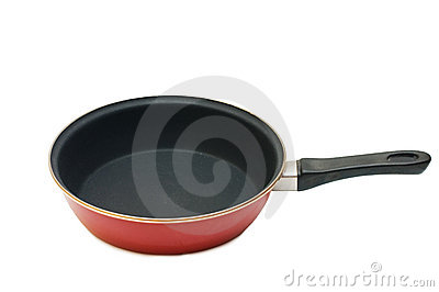 Red frying pan isolated over white