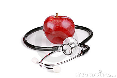 Red gala apple with stethoscope
