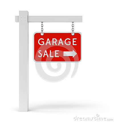 Red Garage Sale sign