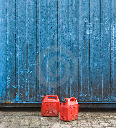 Red gasoline cans