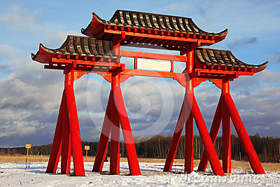 Red Gate of Buddhist temple