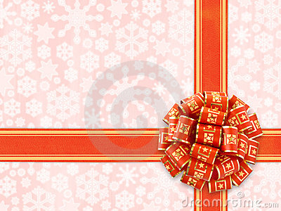 Red Gift Bow Over Snowflakes Background