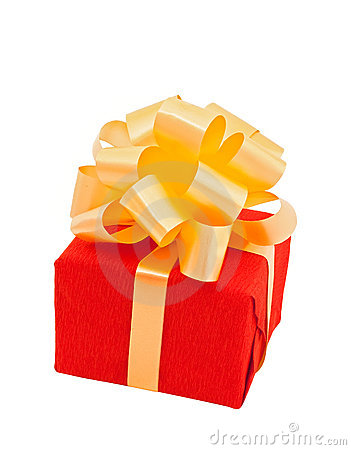 Red gift box  with beige bow