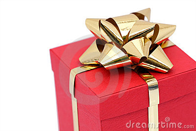Red gift box with gold bow